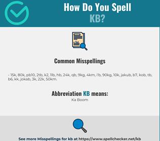 Correct spelling for kb