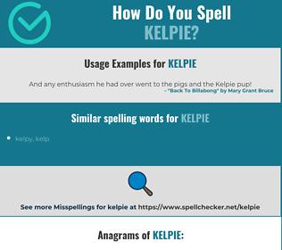 Correct spelling for kelpie