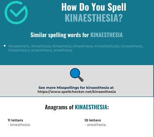 Correct spelling for kinaesthesia