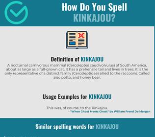 Correct spelling for kinkajou