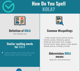 Correct spelling for kola