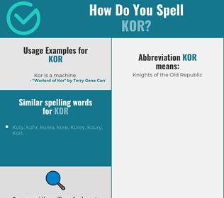Correct spelling for kor