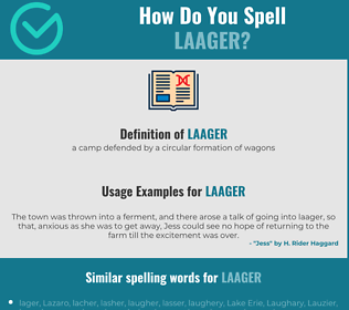 Correct spelling for laager