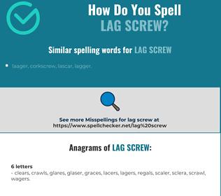 Correct spelling for lag screw