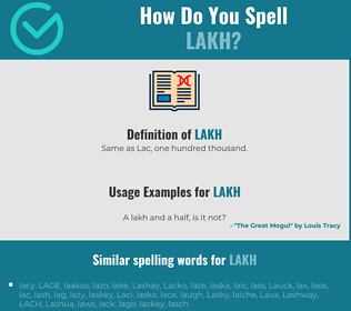 Correct spelling for lakh
