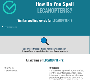 Correct spelling for lecanopteris