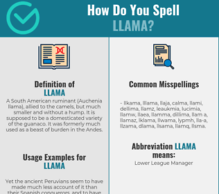 Correct spelling for llama