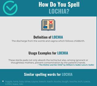 Correct spelling for lochia