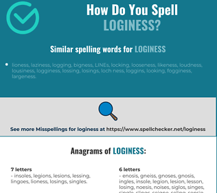 Correct spelling for loginess