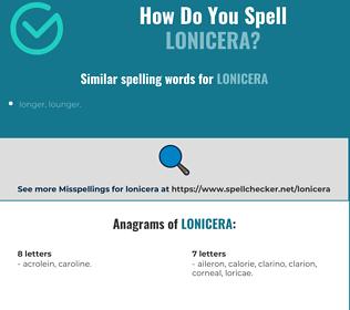 Correct spelling for lonicera