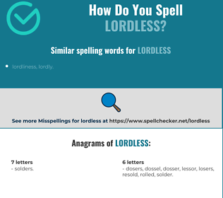 Correct spelling for lordless