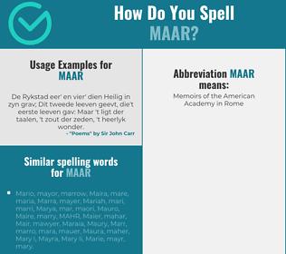 Correct spelling for maar