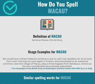 Correct spelling for macau