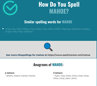 Correct spelling for mahoe