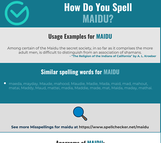 Correct spelling for maidu