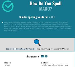 Correct spelling for mako