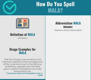 Correct spelling for mala