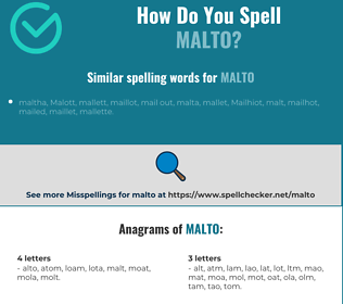 Correct spelling for malto