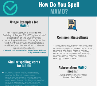Correct spelling for mamo