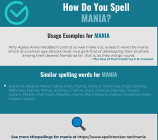 Correct spelling for mania