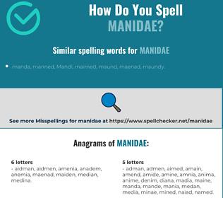 Correct spelling for manidae