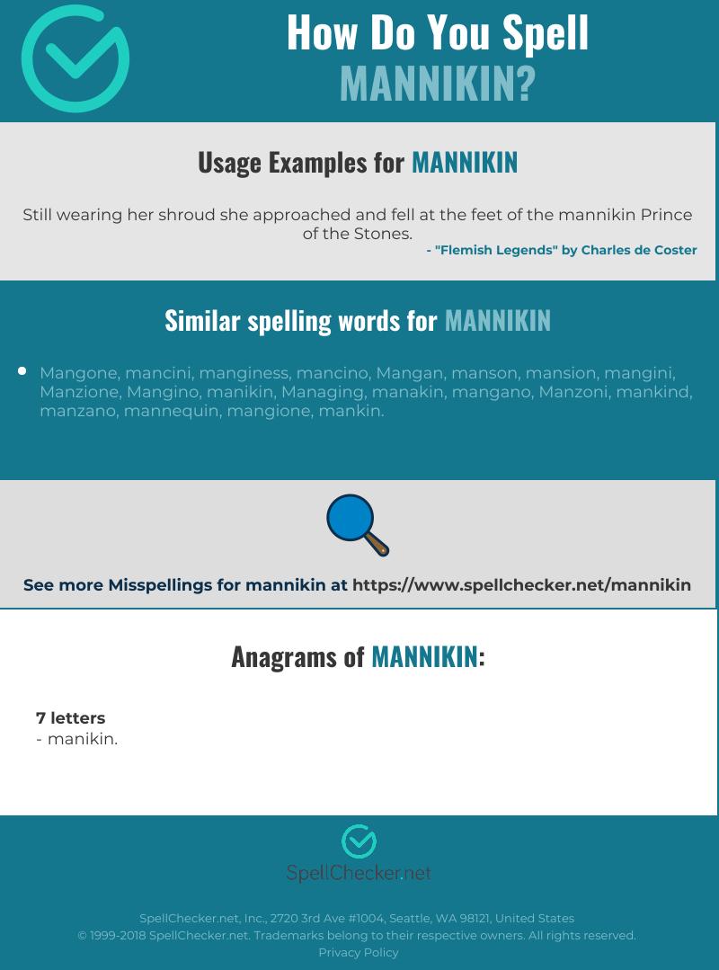 Correct spelling for mannikin [Infographic] | Spellchecker net