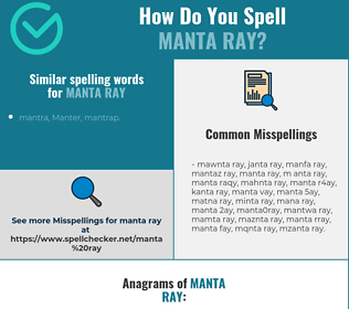 Correct spelling for manta ray