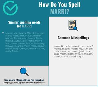 Correct spelling for marri