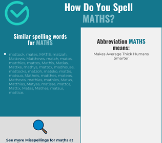 Correct spelling for maths