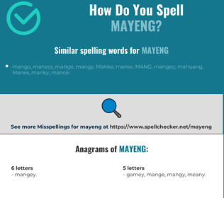 Correct spelling for mayeng