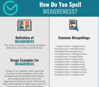 Correct spelling for meagreness