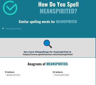 Correct spelling for meanspirited