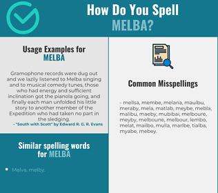 Correct spelling for melba