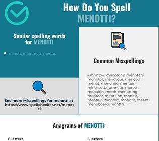 Correct spelling for menotti