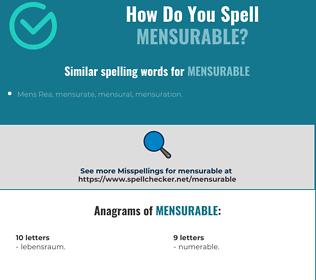 Correct spelling for mensurable