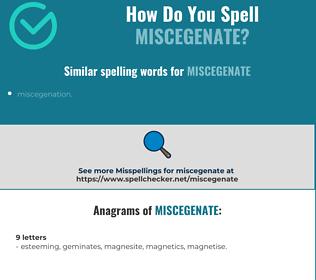 Correct spelling for miscegenate