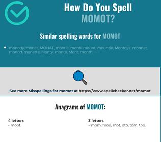 Correct spelling for momot