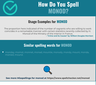 Correct spelling for monod