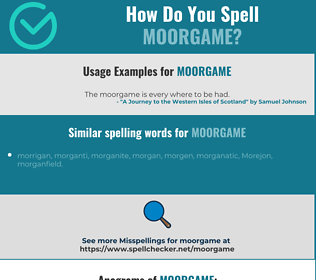 Correct spelling for moorgame