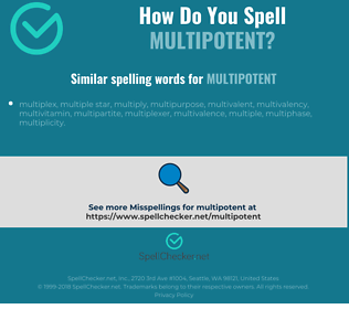 Correct spelling for multipotent