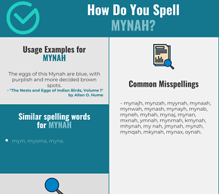 Correct spelling for mynah