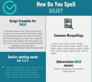 Correct spelling for naja