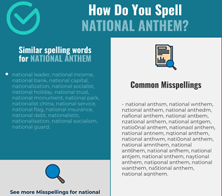 Correct spelling for national anthem