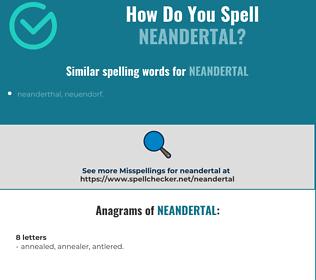 Correct spelling for neandertal
