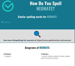Correct spelling for neonate