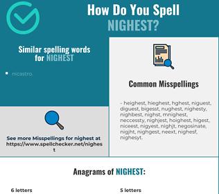 Correct spelling for nighest