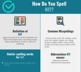 Correct spelling for nit