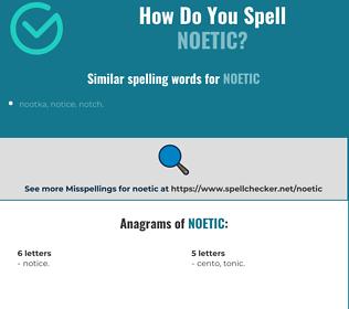 Correct spelling for noetic