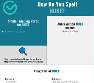 Correct spelling for nuke