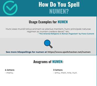 Correct spelling for numen
